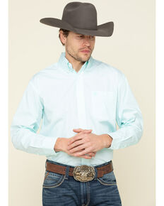 George Strait By Wrangler Men's Turquoise Small Geo Print Long Sleeve Western Shirt - Big , Turquoise, hi-res