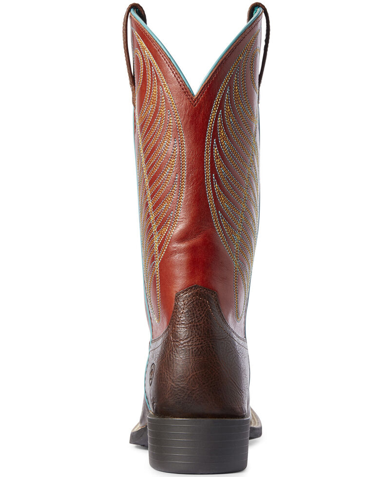 Ariat Women's Round Up Western Boots - Wide Square Toe, Brown, hi-res