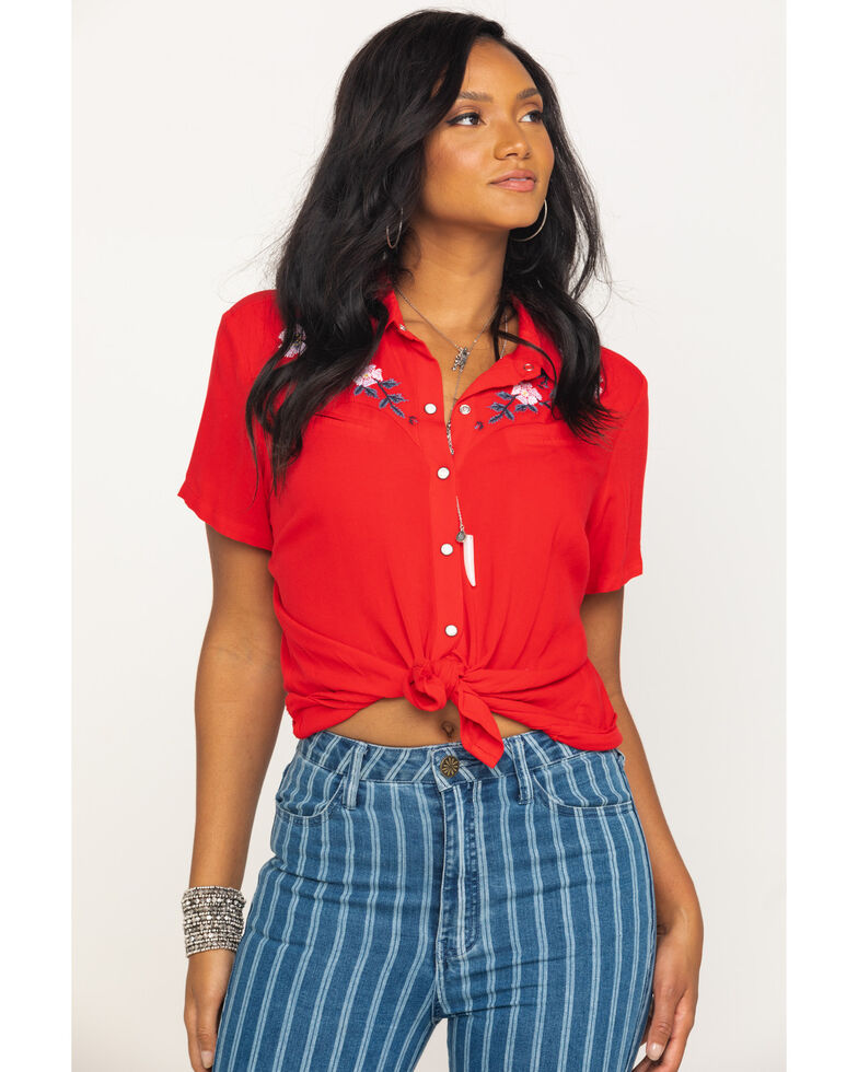 Ariat Women's Embroidered Jane Short Sleeve Western Shirt, Red, hi-res