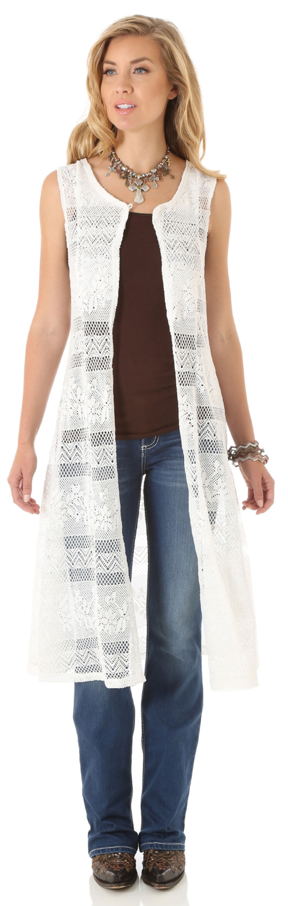 Wrangler Women's Cream Crochet Duster, Cream, hi-res