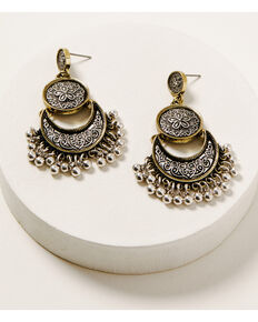 Shyanne Women's Ida Chandelier Medallion Earrings, Silver, hi-res