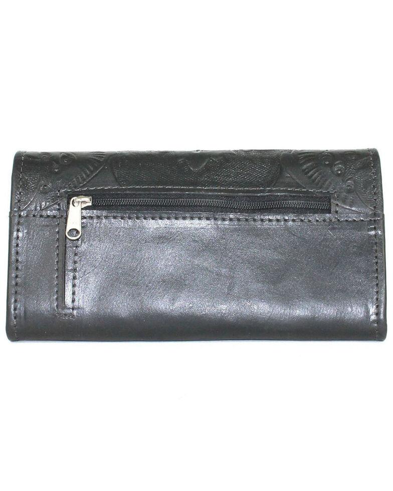 American West Women's Heritage Black Tooled Trifold Wallet, Black, hi-res
