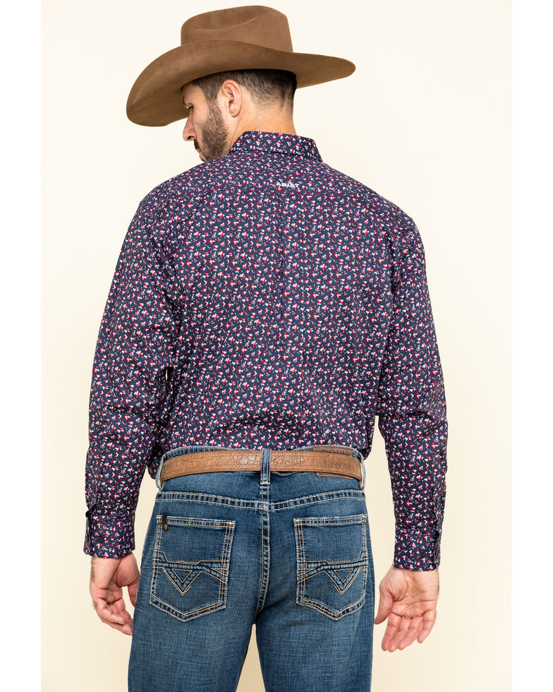 Ariat Men's Namas Stretch Floral Print Long Sleeve Western Shirt , Navy, hi-res