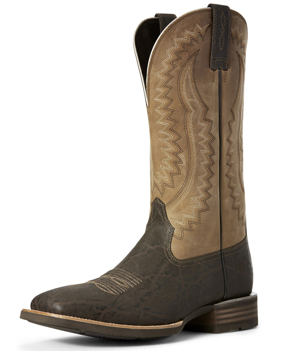 Ariat Men's Hot Iron Elephant Print Western Boots - Wide Square Toe, Chocolate, hi-res