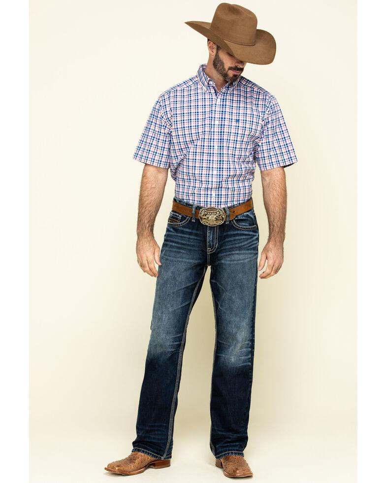 Ariat Men's Hammerman Small Plaid Short Sleeve Western Shirt , White, hi-res