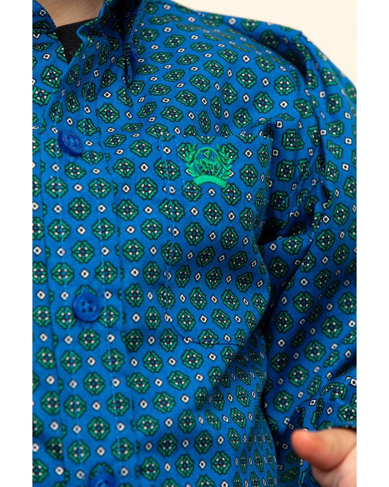 Cinch Toddler Boys' Royal Blue Geo Print Long Sleeve Western Shirt , Royal Blue, hi-res