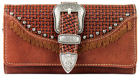 Montana West Trinity Ranch Buckle Wallet with Basket Weave, Brown, hi-res