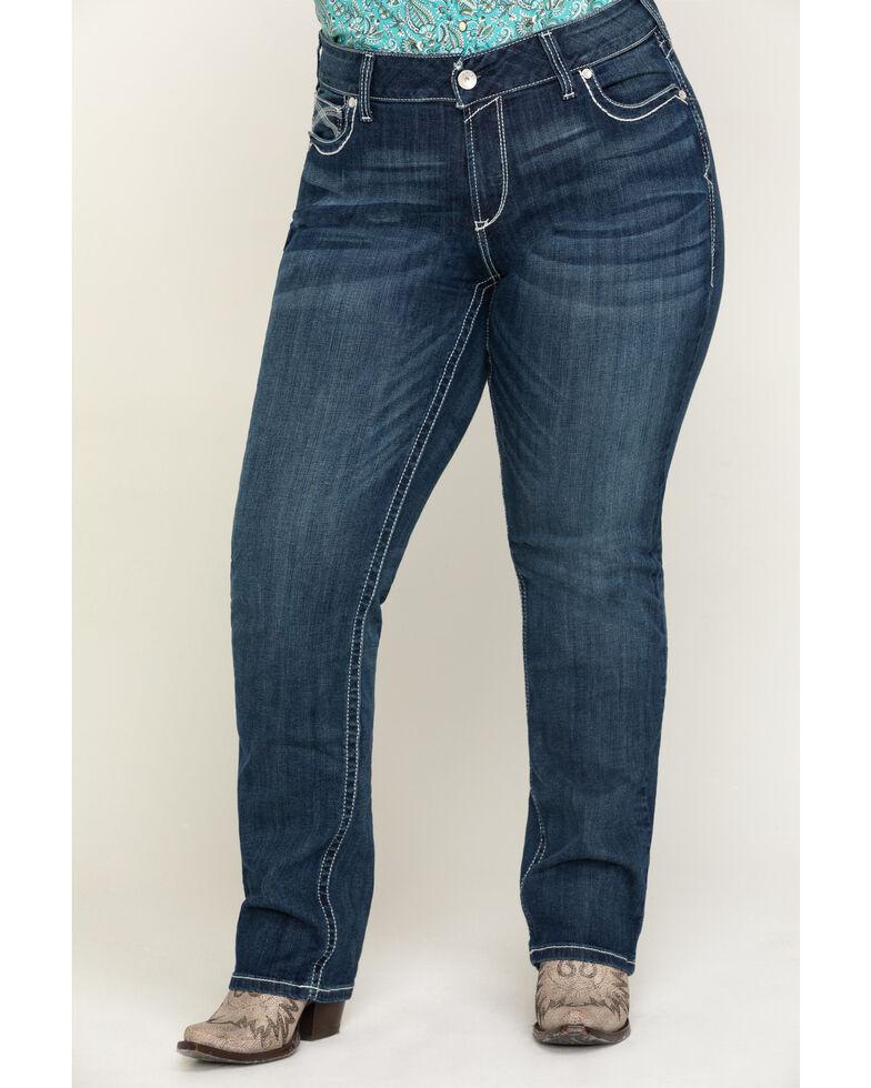 Ariat Women's R.E.A.L. Dresden Ivy Stackable Straight Jeans- Plus, Blue, hi-res