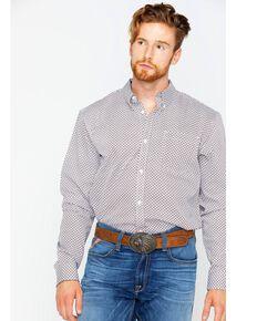 Cody James Core Men's Ramp Geo Print Long Sleeve Western Shirt , White, hi-res