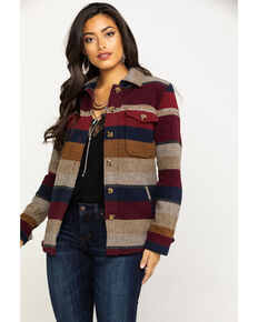 Idyllwind Women's Sunrise Stripe Jacket, Burgundy, hi-res