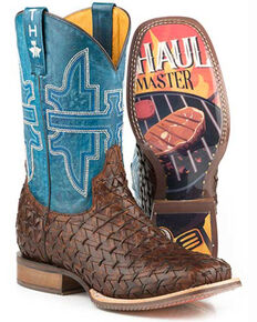 Tin Haul Men's Grill Master Western Boots - Wide Square Toe, Brown, hi-res