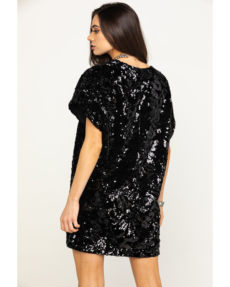 By Together Women's Black Short Sleeve Sequin Mini Dress, Black, hi-res