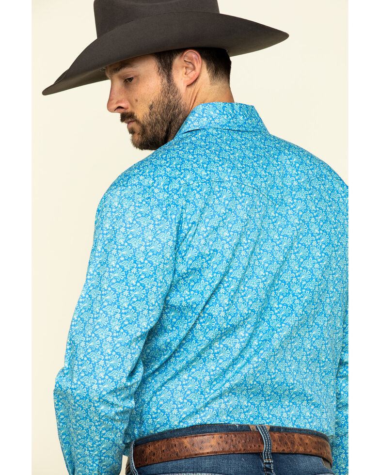 Rough Stock By Panhandle Men's Rummey Floral Print Long Sleeve Western Shirt , Blue, hi-res