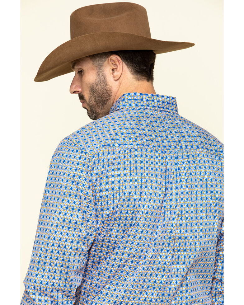 Wrangler 20X Men's Competition Blue Small Geo Print Long Sleeve Western Shirt , Blue, hi-res