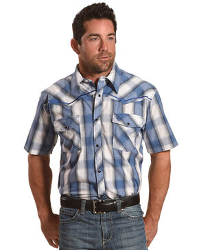 Cowboy Hardware Men's Blue Hombre Plaid Shirt , Steel Blue, hi-res