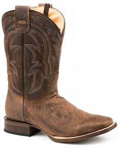 Roper Men's Pierce Flex Western Boots - Square Toe, Tan, hi-res