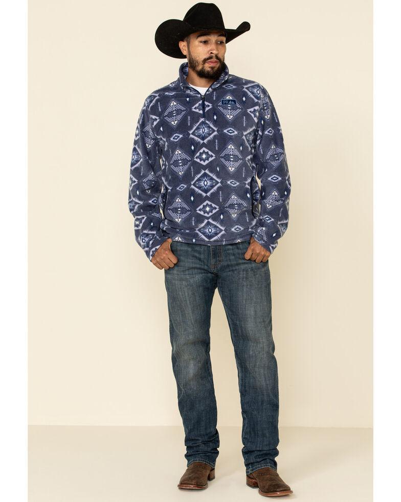 Powder River Outfitters Men's Navy Aztec Fleece 1/4 Zip Pullover Sweatshirt , Navy, hi-res