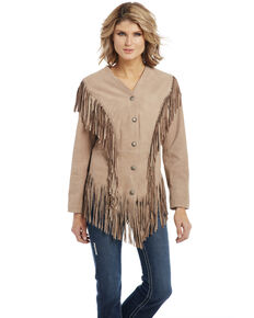 Cripple Creek Women's Ghost Rider Fringe Leather Jacket, Ivory, hi-res