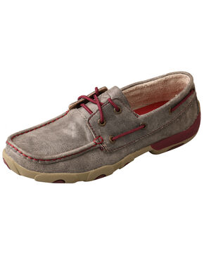 Twisted X Women's Berry Driving Shoes - Moc Toe, Grey, hi-res