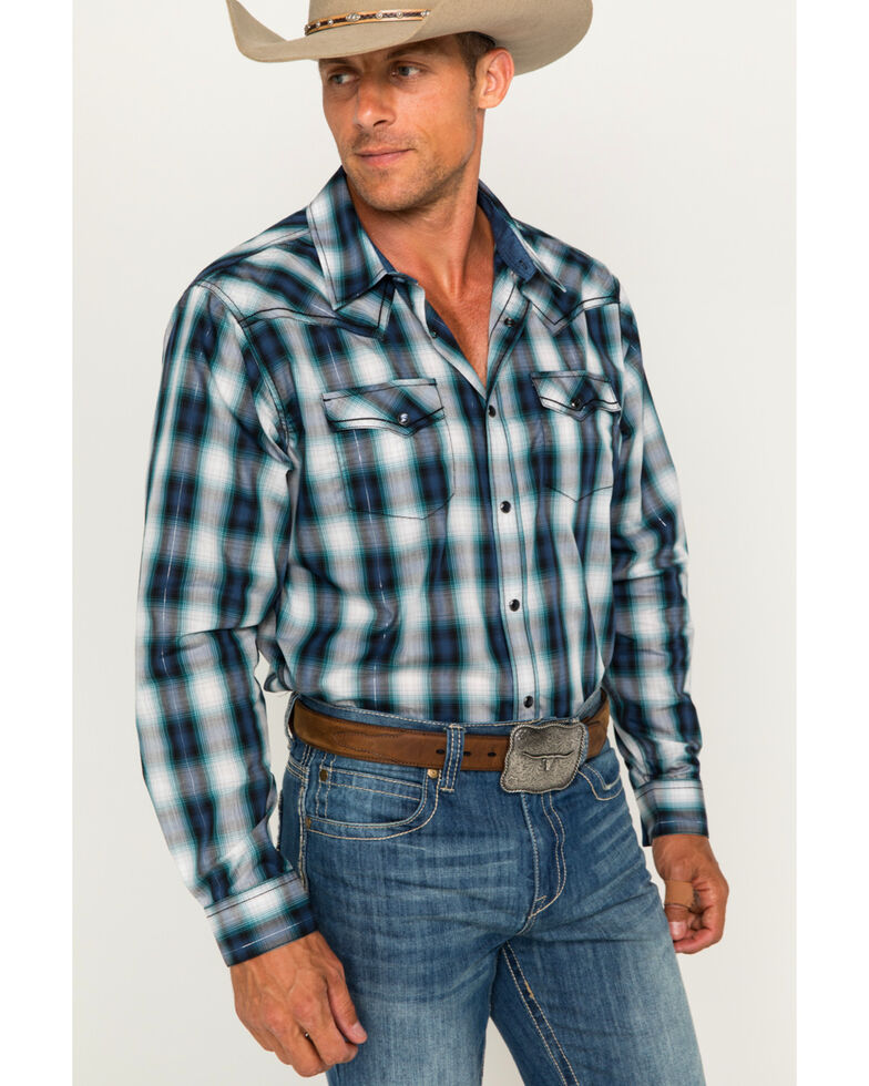 Cody James Men's Rockdale Plaid Long Sleeve Western Shirt, Blue, hi-res