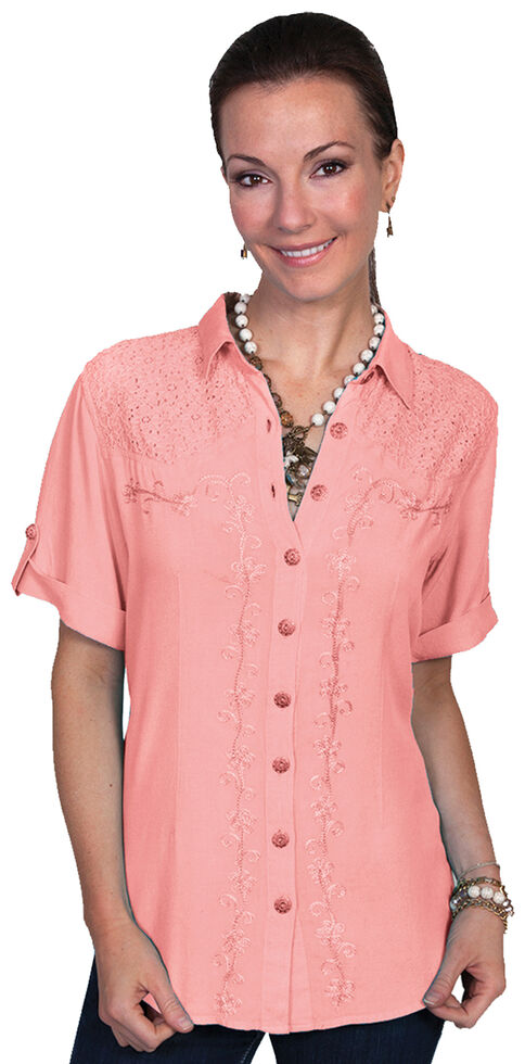 Scully Women's Short Sleeve Lace Blouse, Coral, hi-res