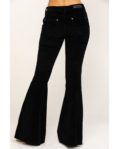 Rock & Roll Cowgirl Women's Black Corduroy Wide Flare Pants, Black, hi-res