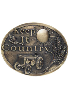 AndWest Men's Keep It Country Belt Buckle, Brass, hi-res