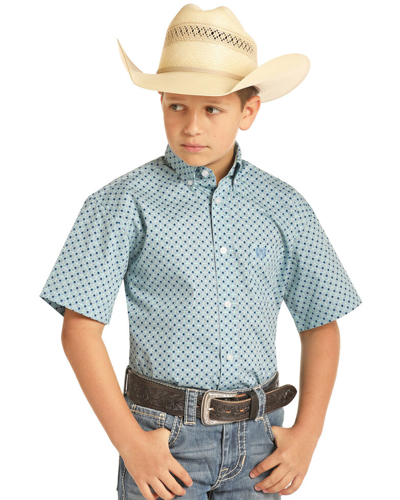 Panhandle Select Boys' Turquoise Geo Print Short Sleeve Western Shirt , Turquoise, hi-res