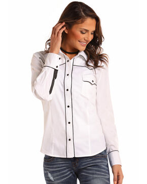 Panhandle White Label Women's Black Satin Long Sleeve Shirt, White, hi-res