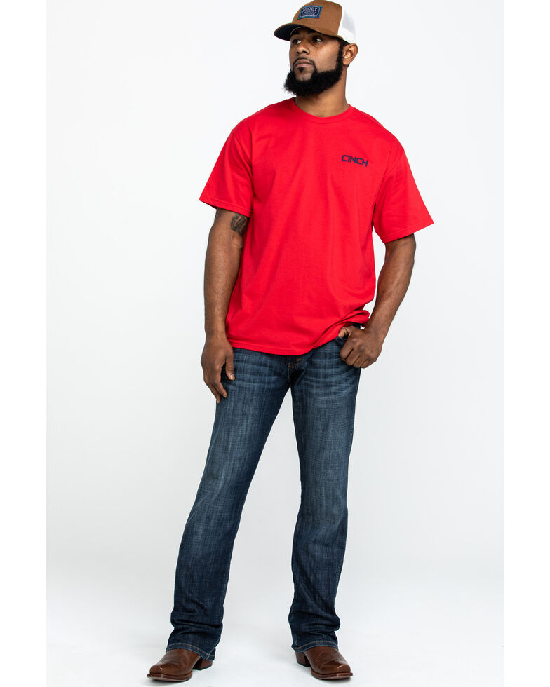 Cinch Men's Red Logo Graphic Crew T-Shirt , Red, hi-res
