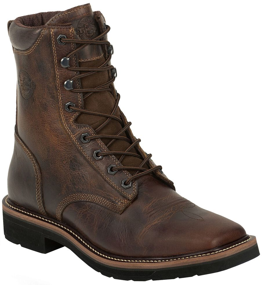 Justin Men S Stampede Pulley 8 Quot Lace Up Work Boots Soft
