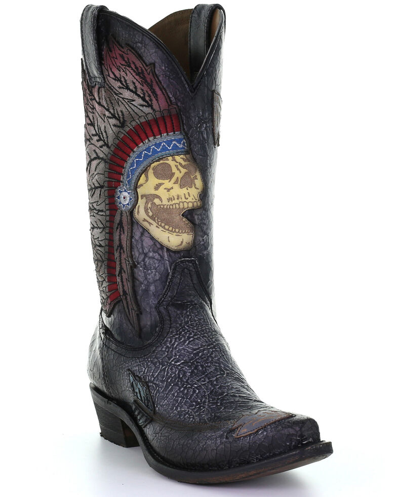 Corral Men's Black Indian Skull Inlay Western Boots - Snip Toe, Black, hi-res
