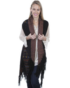 Honey Creek by Scully Women's Aztec Woven Cardigan, Black, hi-res