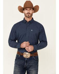 Ariat Men's Ross Small Plaid Long Sleeve Button-Down Western Shirt , Blue, hi-res