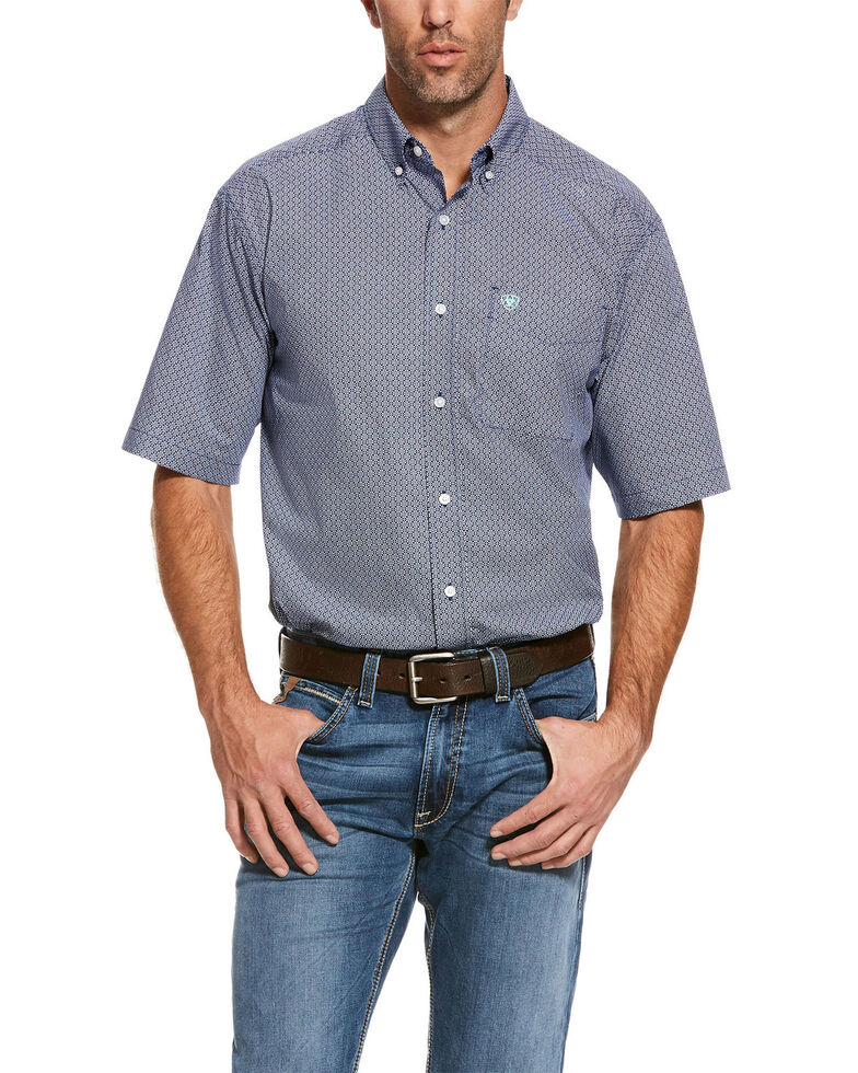 Ariat Men's Reeves Multi Geo Print Short Sleeve Western Shirt , Blue, hi-res