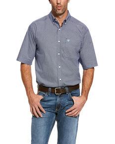 Ariat Men's Reeves Multi Geo Print Short Sleeve Western Shirt - Big , Blue, hi-res