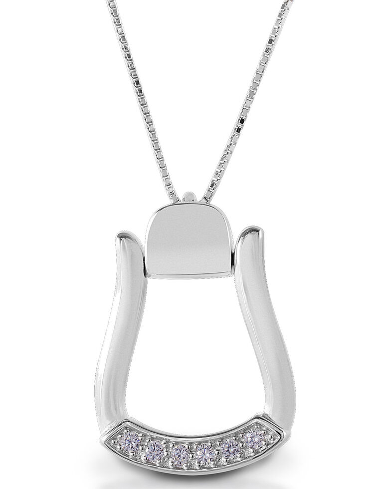 Kelly Herd Women's Large Stone Base Oxbow Stirrup Necklace, Silver, hi-res