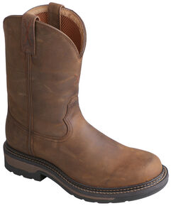 Twisted X Saddle Brown Lite Cowboy Work Boots - Soft Round Toe, Distressed, hi-res