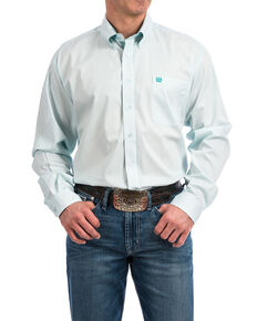 Cinch Men's Light Blue Solid Long Sleeve Western Shirt , Light Blue, hi-res