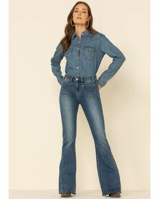 Rock & Roll Denim Women's Medium High Rise Flare Jeans , Blue, hi-res