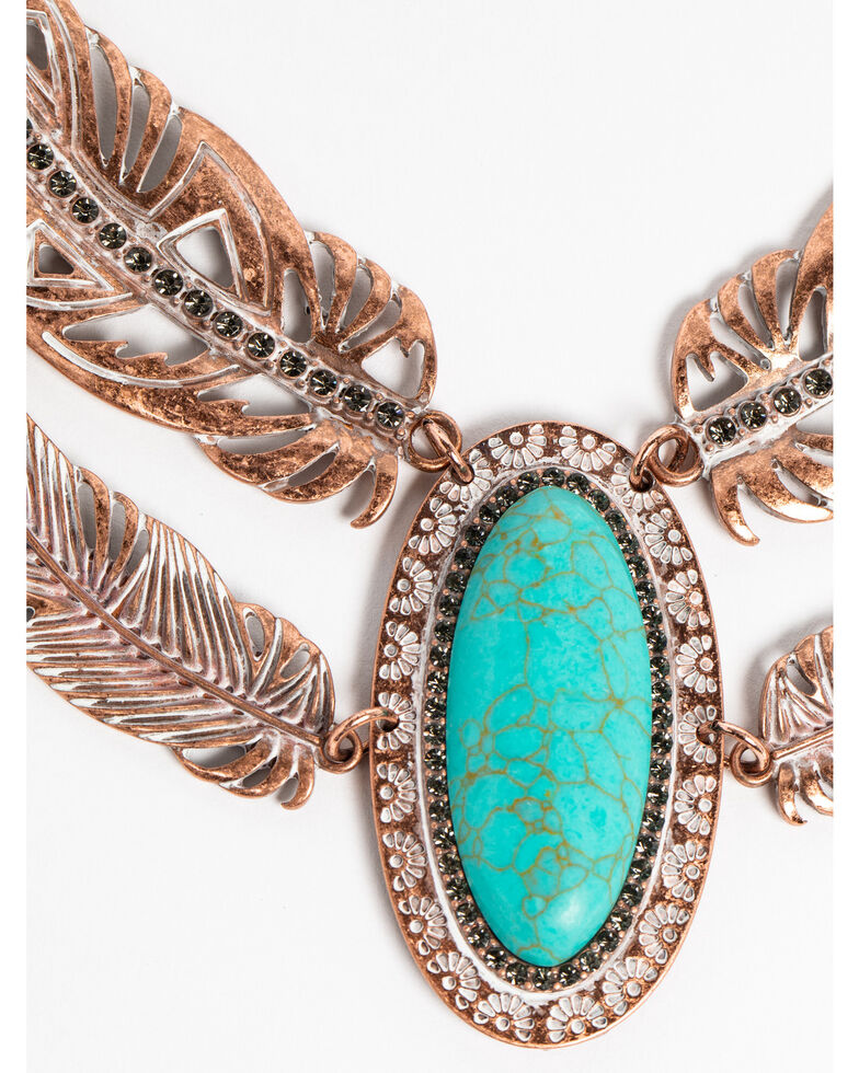 Shyanne Women's Wanderlust Double Up Feather Statement Necklace, Tan/copper, hi-res