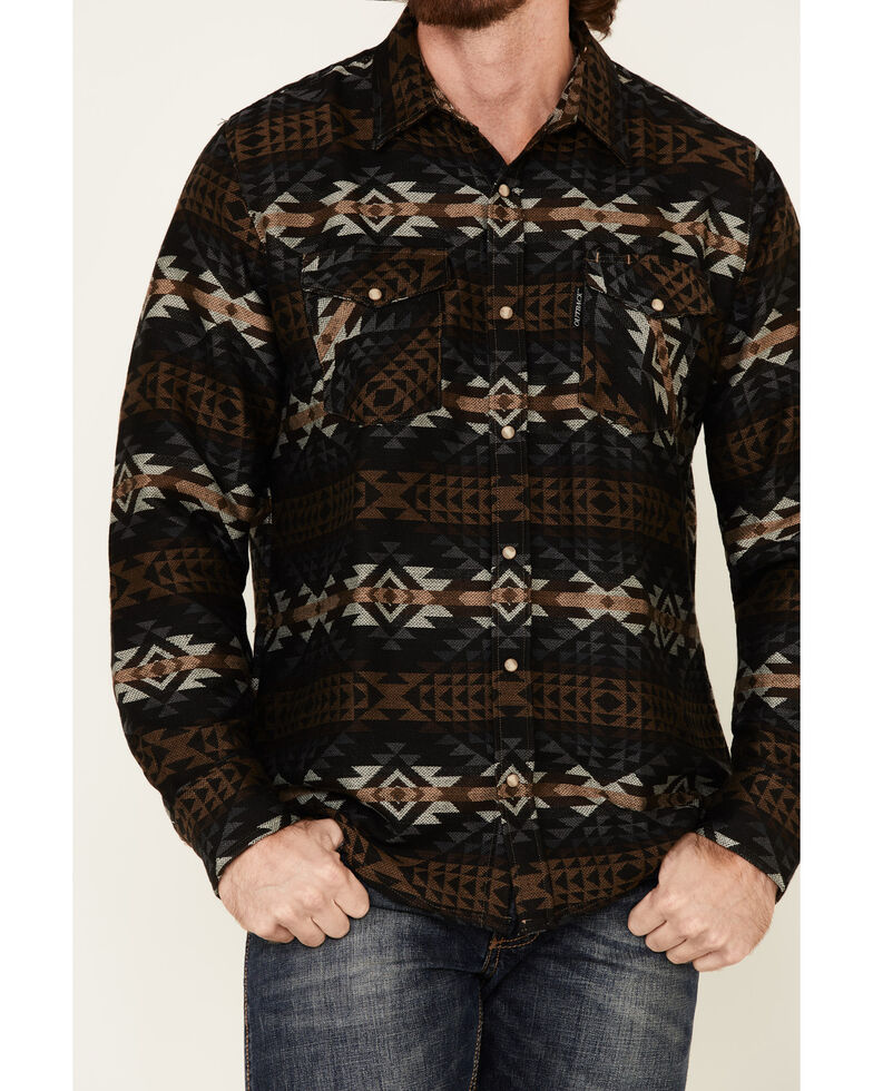 Outback Trading Co. Men's Black Aztec Grover Long Sleeve Western Flannel Shirt , Black, hi-res