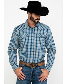 Cody James Men's Harvest Check Plaid Long Sleeve Western Shirt - Big & Tall , Blue, hi-res