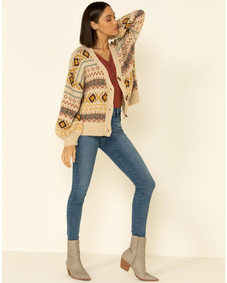 Very J Women's Oatmeal Argyle Aztec Print Cardi Sweater, Oatmeal, hi-res