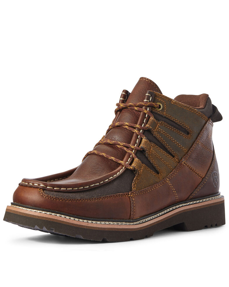 Ariat Men's Exhibitor Lace-Up Boots - Moc Toe, Brown, hi-res