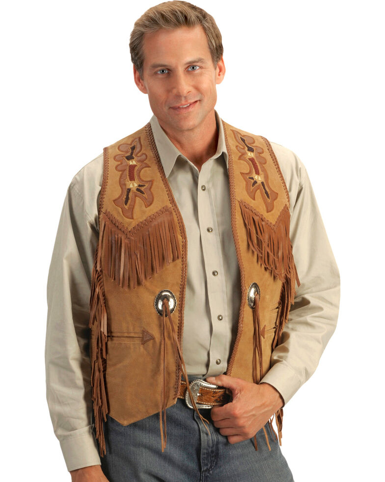Scully Beaded Boar Suede Leather Vest, Tan, hi-res