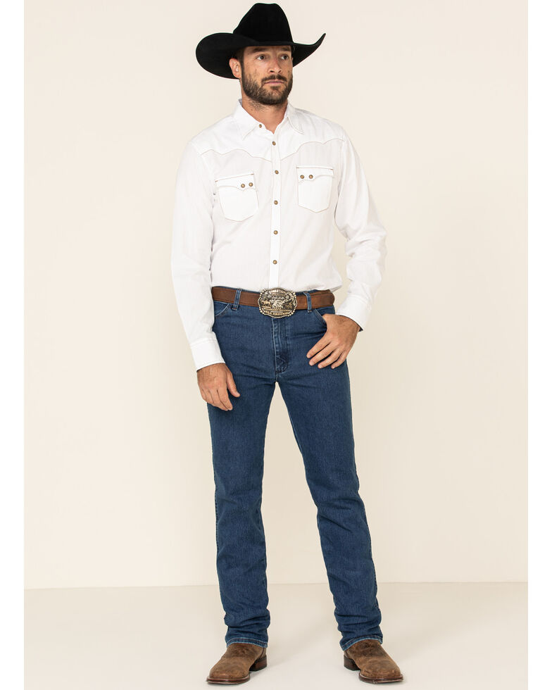 Wrangler Men's Active Flex Stonewash Slim Cowboy Cut Jeans , Blue, hi-res