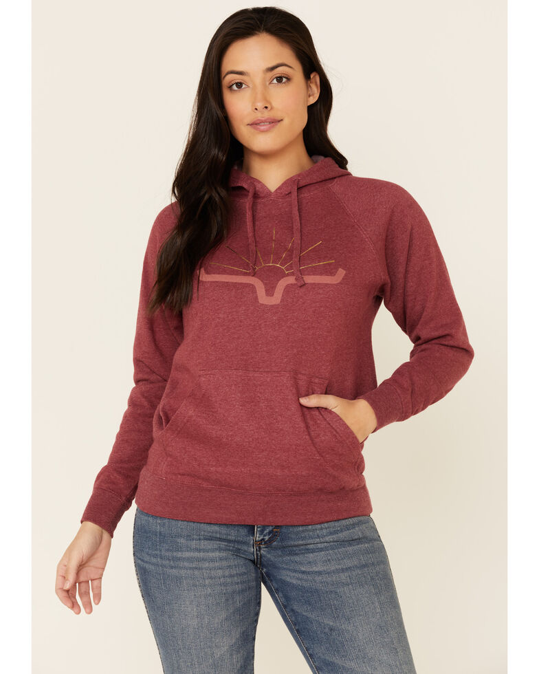 Kimes Ranch Women's Crimson Sunrise Logo Graphic Hoodie , Red, hi-res