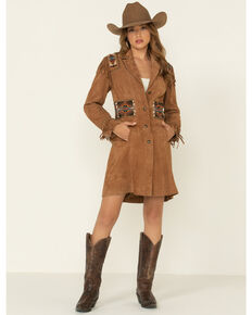 Double D Ranch Women's Tan Plainsman Suede Jacket , Tan, hi-res