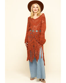Free People Women's Rust Constellation Fringe Dress, Brown, hi-res